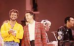 Live Aid 1985 Wembley Stadium, London , England. George Michael, Andrew Ridgeley, Wham, Adam Ant