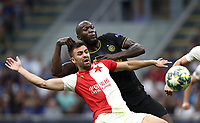 Football Soccer: UEFA Champions League -Group Stage- Group F Internazionale Milano vs  SK Slavia Praha, Giuseppe Meazza stadium, September 17, 2019.<br /> Inter's Romelu Lukaku (r) in action with Slavia Praha's David Hovorka (l) during the Uefa Champions League football match between Internazionale Milano and Slavia Praha at Giuseppe Meazza (San Siro) stadium, September 17, 2019.<br /> UPDATE IMAGES PRESS/Isabella Bonotto