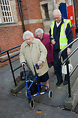 Leaving Gainsborough House lunch club, Gainsborough, Lincolnshire, with Fred Dawling, Dial-a-Ride driver.