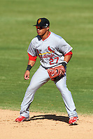 Surprise Saguaros second baseman Kolten Wong #27, of the St. Louis Cardinals organization, during an Arizona Fall League game against the Phoenix Desert Dogs at Phoenix Municipal Stadium on October 18, 2012 in Phoenix, Arizona.  The game was called after eleven innings with a 2-2 tie.  (Mike Janes/Four Seam Images)
