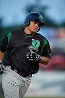Dayton Dragons Cameron Warren (37) rounds the bases after hitting a home run during a Midwest League game against the Kane County Cougars on July 20, 2019 at Northwestern Medicine Field in Geneva, Illinois.  Dayton defeated Kane County 1-0.  (Mike Janes/Four Seam Images)