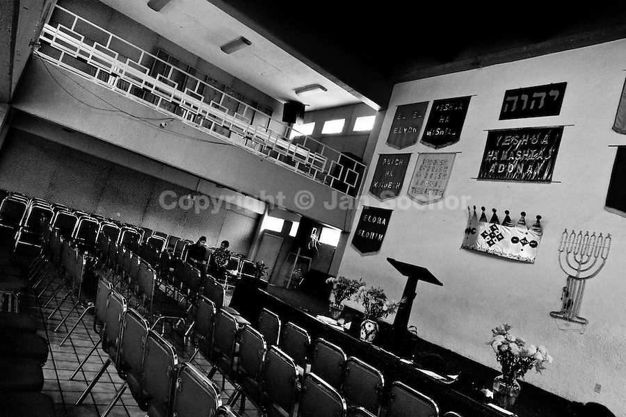The interior of the Church of the Divine Saviour on outskirts of Mexico City, Mexico, 31 May 2011. Exorcism is an ancient religious technique of evicting spirits, generally called demons or evil, from a person which is believed to be possessed. Although the formal catholic rite of exorcism is rarely seen and must be only conducted by a designated priest, there are many Christian pastors and preachers (known as 'exorcistas') performing exorcism and prayers of liberation. Using their strong charisma, special skills and religous formulas, they command the evil spirit to depart a victim's mind and body, usually invoking Jesus Christ or God to intervene in favour of a possessed person.