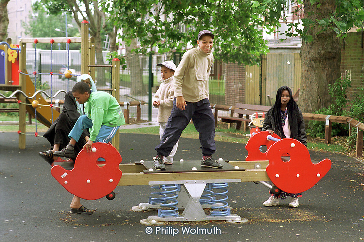 Children play on a newly equipped play area next to Poplar HARCA's Aberfeldy Estate, which was transferred from Tower Hamlets Council control after a ballot of residents.
