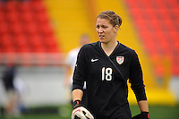 US goalkeeper Nicole Barnhart. The USA defeated Norway 2-1 at Olhao Stadium on February 26, 2010 at the Algarve Cup.