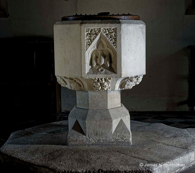 The east face of the font of St Lawrence Church, Tubney, Oxfordshire, UK. This is the only Protestant church designed by Augustus Pugin. The interior fittings were designed by him and remain unchanged since its consecration in 1847.