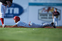 Auburn Doubledays second baseman Max Schrock (9) slides into second during a game against the Batavia Muckdogs on July 10, 2015 at Dwyer Stadium in Batavia, New York.  Auburn defeated Batavia 13-1.  (Mike Janes/Four Seam Images)