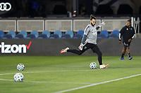 SAN JOSE, CA - OCTOBER 18: San Jose Earthquakes goalkeeper Matt Bersano #12 before a game between Seattle Sounders FC and San Jose Earthquakes at Earthquakes Stadium on October 18, 2020 in San Jose, California.
