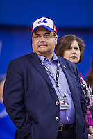 4 April 2015: Mayor of Montreal Denis Coderre watches batting practice prior to an exhibition game between the Toronto Blue Jays and the Cincinnati Reds at Olympic Stadium in Montreal, Quebec, Canada. The Blue Jays defeated the Reds 9-1 in the second of two MLB weekend exhibition games. Mayor Coderre is an outspoken supporter of bringing Major League Baseball back to the city after the Montreal Expos moved to become the Washington Nationals in 2005. Mandatory Credit: Ed Wolfstein Photo *** RAW (NEF) Image File Available ***