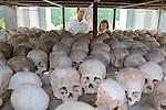Viewing Skulls, Choeung Ek Buddist Memorial Stupa