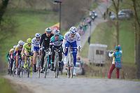 3 Days of De Panne.stage 1: Middelkerke - Zottegem..Dominique Rollin (CAN) driving the peloton over the Haaghoek