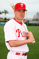 February 24, 2010:  Infielder/Outfielder Greg Dobbs (19) of the Philadelphia Phillies poses during photo day at Bright House Field in Clearwater, FL.  Photo By Mike Janes/Four Seam Images
