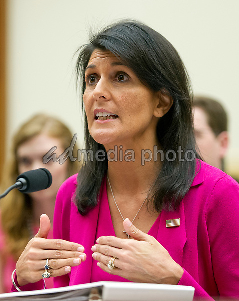 """United States Ambassador to the United Nations Nikki Haley gives testimony before the US House Foreign Affairs Committee on """"Advancing US Interests at the United Nations"""" on Capitol Hill in Washington, DC on Wednesday, June 28, 2017. Photo Credit: Ron Sachs/CNP/AdMedia"""