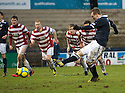 Raith's Allan Walker sees his penalty saved by Accies keeper Kevin Cuthbert.