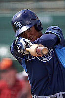 Tampa Bay Rays Angel Moreno (62) during an instructional league game against the Baltimore Orioles on September 25, 2015 at Ed Smith Stadium in Sarasota, Florida.  (Mike Janes/Four Seam Images)