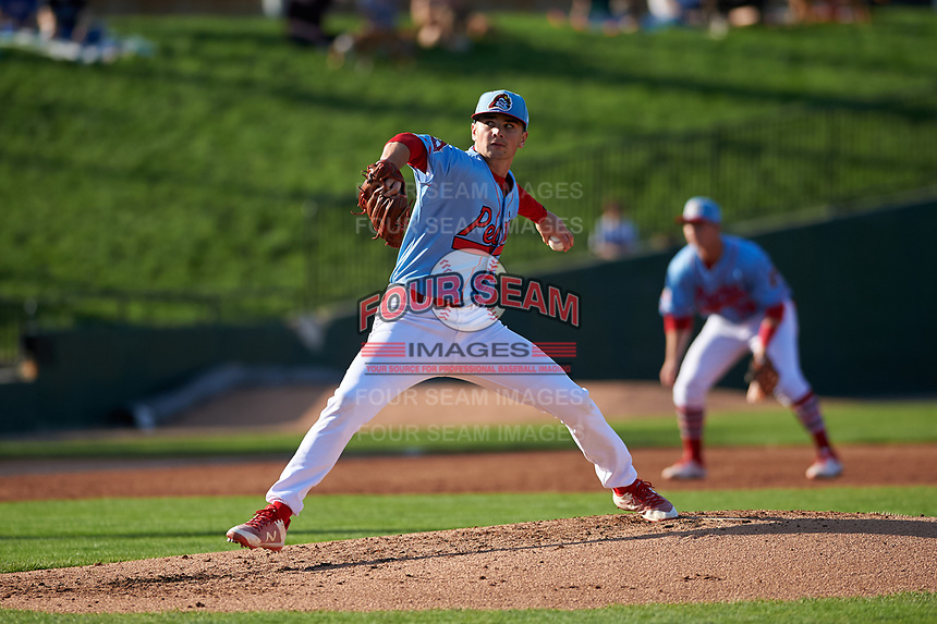 Peoria Chiefs starting pitcher Jacob Schlesener (25) during a Midwest League game against the Bowling Green Hot Rods at Dozer Park on May 5, 2019 in Peoria, Illinois. Peoria defeated Bowling Green 11-3. (Zachary Lucy/Four Seam Images)