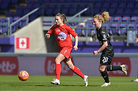 Charlotte Tison (20) of Anderlecht and Kenza Vrithof (9) of Woluwe pictured during a female soccer game between RSC Anderlecht Dames and White Star Woluwe on the 18 th and last matchday before the play offs of the 2020 - 2021 season of Belgian Womens Super League , saturday 27 th of March 2021  in Brussels , Belgium . PHOTO SPORTPIX.BE | SPP | DIRK VUYLSTEKE