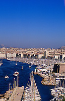 France. Marseille.  Bouches du Rhone.  City and the old port, yacht marina in the foreground