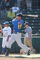 San Jose Giants infielder Brandon Belt of the California League All- Stars hitting in the home run derby contest before the California League vs. Carolina League All-Star game held at BB&T Coastal Field in Myrtle Beach, SC on June 22, 2010.  The California League All-Stars defeated the Carolina League All-Stars by the score of 4-3.  Photo By Robert Gurganus/Four Seam Images