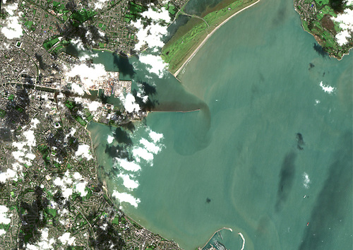 Copernicus Sentinel-2 satellite data showing Ringsend waste Water Treatment Plant on the 10th October 2020, one of the days Irish water reported over 75,000 m3 of storm runoff at Ringsend