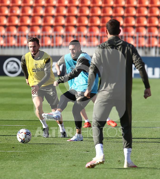Atletico de Madrid's Saul Niguez (l) and Koke Resurreccion during training session. October 7,2020.(ALTERPHOTOS/Atletico de Madrid/Pool)