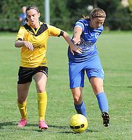 20160827 - ZWEVEZELE , BELGIUM : Genk's Hanne Merkelbach (R)   and Zwevezele's Ellen Lagrange (L) pictured during the soccer match  in the 2nd round of the  Belgian cup 2017 , a soccer women game between SK Voorwaarts Zwevezele and RC Genk Ladies  , in Zwevezele , saturday 27 th August 2016 . PHOTO SPORTPIX.BE / DIRK VUYLSTEKE