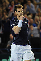 Andy Murray (GB), MARCH 05, 2016 - Tennis : Andy Murray (GB) celebrates hitting the winning shot during the Davis Cup by PNB Paribas , World Group first round doubles match between Great Britain and Japan at The Barclaycard Arena, Birmingham, United Kingdom. (Photo by Rob Munro/AFLO)