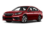 Stock pictures of low aggressive front three quarter view of 2020 Subaru Legacy Premium 4 Door Sedan Low Aggressive