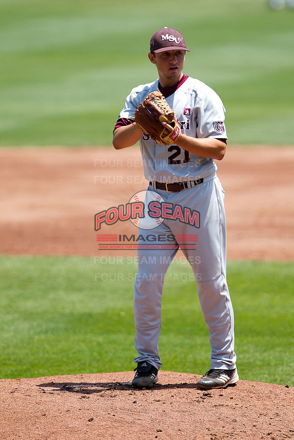 Cody Schumacher (21) of the Missouri State Bears stands on the mound during a game against the Wichita State Shockers in the 2012 Missouri Valley Conference Championship Tournament at Hammons Field on May 23, 2012 in Springfield, Missouri. (David Welker/Four Seam Images)