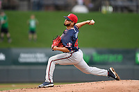 Starting pitcher Odalvi Javier (40) of the Rome Braves delivers a pitch in a game against the Greenville Drive on Friday, April 19, 2019, at Fluor Field at the West End in Greenville, South Carolina. Greenville won, 2-0. (Tom Priddy/Four Seam Images)