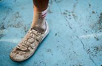 dirty post-race shoe by Christophe Laporte (FRA/Cofidis)<br /> <br /> 117th Paris-Roubaix (1.UWT)<br /> 1 Day Race: Compiègne-Roubaix (257km)<br /> <br /> ©kramon