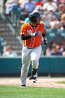 Norfolk Tides catcher Audry Perez (20) runs to first base during a game against the Rochester Red Wings on July 17, 2016 at Frontier Field in Rochester, New York.  Rochester defeated Norfolk 3-2.  (Mike Janes/Four Seam Images)