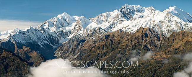 Views of Southern Alps with Aoraki Mount Cook, Mount Tasman, La Perouse and Balfour Glacier, Westland Tai Poutini National Park, UNESCO World Heritage Area, West Coast, New Zealand, NZ