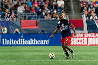 FOXBOROUGH, MA - SEPTEMBER 11: Andrew Farrell #2 of New England Revolution passes the ball during a game between New York City FC and New England Revolution at Gillette Stadium on September 11, 2021 in Foxborough, Massachusetts.