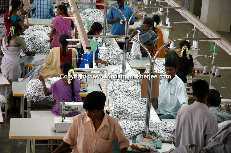 Wokers at Popy's garment stitching factory in Tirupur, Tamilnadu. After lifting of quota system in textile export on 1st january 2005. Tirupur has become the biggest foreign currency earning town of India.