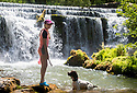 01/07/18<br /> <br /> Freya Kirkpatrick, 10, and her springer spaniel, Chester, find a tranquil spot to escape the heat at Monsal Weir near Bakewell in the Derbyshire Peak District.<br /> <br /> All Rights Reserved F Stop Press Ltd. +44 (0)1335 344240 +44 (0)7765 242650  www.fstoppress.com
