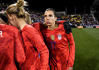 COLUMBUS, OH - NOVEMBER 07: Tobin Heath #17 of the United States huddles up during a game between Sweden and USWNT at MAPFRE Stadium on November 07, 2019 in Columbus, Ohio.
