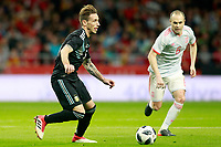 Spain's Andres Iniesta (r) and Argentina's Lucas Biglia during international friendly match. March 27,2018.(ALTERPHOTOS/Acero) /NortePhoto.com NORTEPHOTOMEXICO