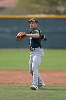 Oakland Athletics shortstop Nick Allen (1) prepares to make a throw to first base during a Minor League Spring Training game against the Chicago Cubs at Sloan Park on March 13, 2018 in Mesa, Arizona. (Zachary Lucy/Four Seam Images)