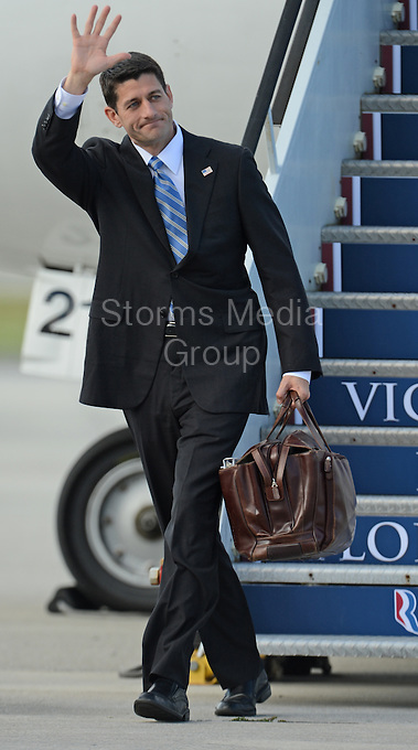 WEST PALM BEACH, FL - OCTOBER 19:  Republican vice presidential candidate U.S. Rep. Paul Ryan (R-WI), lands at west Palm Beach International Airport to continue campaigning in Florida.  on October 19, 2012 in West Palm Beach, Florida.<br /> <br /> <br /> People:  Paul Ryan<br /> <br /> Transmission Ref:  FLXX<br /> <br /> Must call if interested<br /> Michael Storms<br /> Storms Media Group Inc.<br /> 305-632-3400 - Cell<br /> 305-513-5783 - Fax<br /> MikeStorm@aol.com