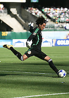 Guillermo Ochoa kicks the ball. Mexico defeated Nicaragua 2-0 during the First Round of the 2009 CONCACAF Gold Cup at the Oakland Coliseum in Oakland, California on July 5, 2009.