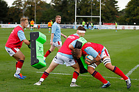 Matas Jurevicius of London Scottish hits the pads during the Championship Cup match between London Scottish Football Club and Nottingham Rugby at Richmond Athletic Ground, Richmond, United Kingdom on 28 September 2019. Photo by Carlton Myrie / PRiME Media Images
