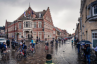 peloton rolling through town<br /> <br /> 82nd Gent-Wevelgem in Flanders Fields 2020 (1.UWT)<br /> 1 day race from Ieper to Wevelgem (232km)<br /> <br /> ©kramon