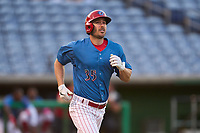 Philadelphia Phillies Matt Joyce (35), on rehab assignment with the Clearwater Threshers, jogs to first base after a walk during a game against the Dunedin Blue Jays on May 18, 2021 at BayCare Ballpark in Clearwater, Florida.  (Mike Janes/Four Seam Images)