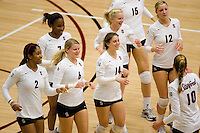 STANFORD, CA - DECEMBER 5:  Janet Okogbaa, Jessica Walker, Katherine Knox, Katherine Sebastian, Joanna Evans and Erin Waller of the Stanford Cardinal after Stanford's 3-0 win over Albany in the NCAA Division 1 Women's Volleyball first round on December 5, 2008 at Maples Pavilion in Stanford, California.