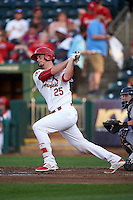 Springfield Cardinals catcher Mike Ohlman (25) at bat during a game against the Frisco RoughRiders  on June 4, 2015 at Hammons Field in Springfield, Missouri.  Frisco defeated Springfield 8-7.  (Mike Janes/Four Seam Images)