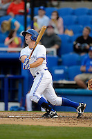 Dunedin Blue Jays second baseman Jon Berti #5 hits a solo home run during a game against the Clearwater Threshers at Florida Auto Exchange Stadium on April 4, 2013 in Dunedin, Florida.  Dunedin defeated Clearwater 4-2.  (Mike Janes/Four Seam Images)
