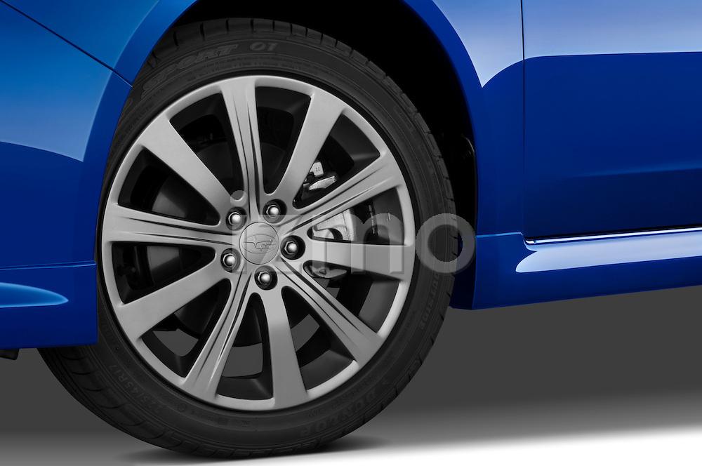 Tire and wheel close up detail view of a 2009 Subaru Impreza Wagon WRX