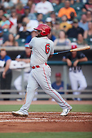 Wilson Garcia (6) of the Chattanooga Lookouts follows through on his swing against the Tennessee Smokies at Smokies Stadium on July 31, 2021, in Kodak, Tennessee. (Brian Westerholt/Four Seam Images)