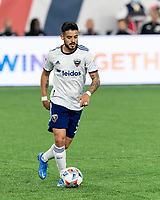 FOXBOROUGH, MA - APRIL 24: Junior Moreno #5 of D.C. United looks to pass during a game between D.C. United and New England Revolution at Gillette Stadium on April 24, 2021 in Foxborough, Massachusetts.