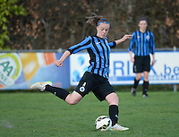 20150428 - VARSENARE , BELGIUM : Club Brugge's Tine De Caigny pictured during the soccer match between the women teams of Club Brugge Vrouwen and Standard de Liege Femina , on the 24th matchday of the BeNeleague competition Tuesday 28 th April 2015 in Varsenare . PHOTO DAVID CATRY